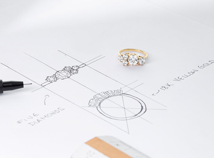 The Ecksand Blossom Cluster Diamond Engagement Ring Accompanied by Jeweller's Sketches in the Ecksand Atelier